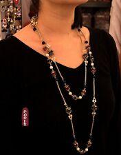Collier Sautoir Chaine Agate Rouge Noir Perle Blanc Baroque Retro Vintage JD 1