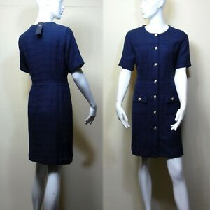 M&S Tailored TWEED Boucle Checked DRESS ~ Size 12 ~ NAVY (rrp £69)