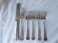 6pc Wallace HUDSON 4 Salad 1 Dinner 1 Knife Silverplate Flatware Silverware lot
