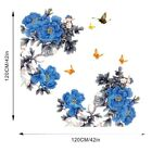 Blue Wall Sticker Butterfly Diy Decoration Home Pvc Peony Flower Branch