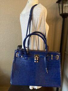 Dasein Vegan Leather Handbag Blue Satchel Shoulder Bag Briefcase Paid $159