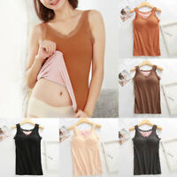 Women's Camisole Tops with Built in Bra V Neck Vest Padded Velvet Thermal Tops