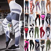 Womens Yoga Fitness Leggings Running Gym Stretch Sport High Waist Pants Trousers