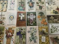 "LOT of 20 BEAUTIFUL Antique~"" EASTER CROSSES"" with Flowers CROSS POSTCARDS-a696"