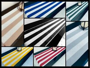 """WHITE Striped Teflon Table Runner For Wedding Events 12"""" wide Any Length"""