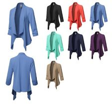 FashionOutfit Women's Solid Lightweight 3/4 Ruched Sleeves Thin Cardigan Blazer