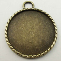 12PCS Antique Style Bronze Tone Round Cameo Setting Jewelry Inner 30*30mm