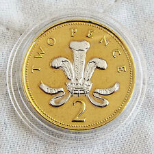 1998 QEII 2 peniques oro en capas con rodio platino