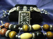 Woman's Quartz Watch Has 2 Vintage  Beaded Band B041