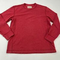 Eddie Bauer Waffle Knit Shirt Men's Large Long Sleeve Red Crew Neck Cotton Blend