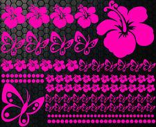 98 pièces Kit Autocollants Pour Voiture Hibiscus Fleurs Papillons Hawaï