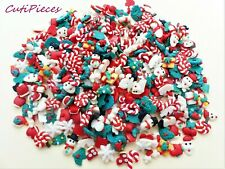 50/25/10pc 3D Fimo Clay Christmas Santa Snowman Snowflake Cane Tiny Mix Nail Art