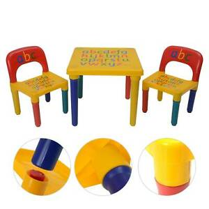 ABC Alphabet Children Plastic Table and Two Chairs Set Gift - Kids Toddlers