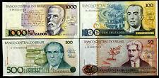 Brazil 1000,500,100, 50 Cruzeiros Banknote World Paper Money UNC Currency Bill