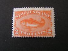 "NEWFOUNDLAND, SCOTT # 48, 2c. VALUE RED ORANGE COLOR ""CODFISH"" 1887 MLH"