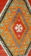 """Stunning Antique 1930-1940's Natural Color Wool Pile Bohemian Runner 2'11""""×9'4"""""""