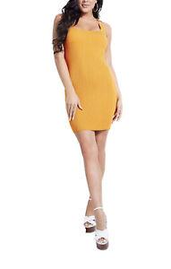 Guess Orange Ribbed Sweater Dress Size Medium