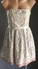 Pre-owned FOREVER NEW Blush & Ivory Lace Strapless Bustier Dress Size 10