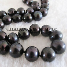24 inches 10-11mm Black AA Freshwater Pearl Necklace Jewelry AC