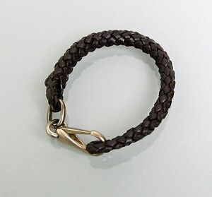 New Authentic Gucci Leather Woven Braided Bracelet, Unisex, Dark Brown, 246147