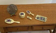 Vintage Hand Painted Vanity Set Mirror Brush Tray Dollhouse Miniature 1:12