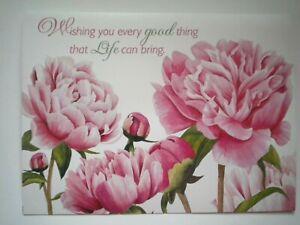 """""""WISHING YOU..."""" PINK PEONIES BIRTHDAY GREETING CARD + DESIGNER ENVELOPE"""