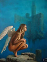 CULOP329 100% hand-painted high quality angel girl art oil painting on canvas