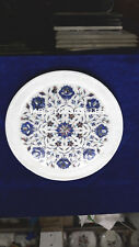 8'' Natural Marble White Stone Inlay Kishti Plate Lapis Lazuli Rare Decor H4077