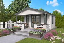 44 mm Gartenhaus ISO + Terrasse 450x580 cm Blockhaus Holzhaus Gerätehaus Holz