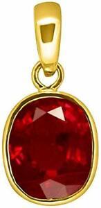 Natural Certified Red Ruby Manik Gemstone Copper Panchdhatu Pendant / Locket
