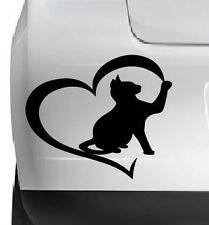 Cat Lowers Heart Cute Cat Vinyl Decal  Sticker DieCut Wall Car Any SmoothSurface