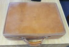 VINTAGE HARTMANN LUGGAGE DOUBLE LOCK BELTING LEATHER PAISLEY LINED SUITCASE BRIE