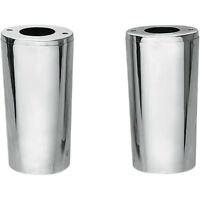 """Drag Specialties Chrome +2"""" Smooth Fork Slider Covers Boots for Harley"""