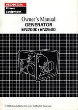 2001 HONDA POWER GENERATOR EN2000 & EN2500  OWNERS MANUAL  (975)