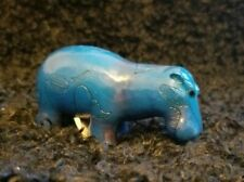 "Blue miniature hippopotamus  figurine 3"" - hand painted - Nib"