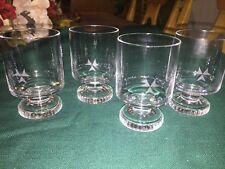 Rosenthal Crystal 4 wine Shot cordial juice glasses etched 3 arrow points signed