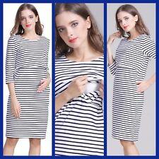 SALE!! BNWT STRIPE MATERNITY BREASTFEEDING NURSING DRESS SIZE M L XL 10 12 14 16