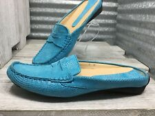 Vaneli Leather Women's 7M Turquoise Penny Loafer Driving Moccasin Mules RoundToe