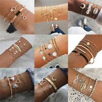 Bohemia Women Multilayer Handmade Crystal Shell Pendant Chain Bracelet Charm Set