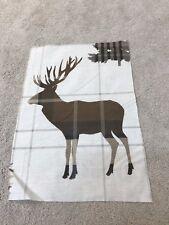 Stag Deer Tartan Crème Naturel Beige Couture Remnant Tissu Pièce 40x29cm nouveau