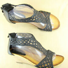 "Spring Step Patrizia Larunda Wedge 3"" Heel Ankle Strap Woven US 10 Leather"