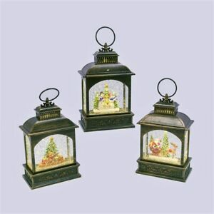 "Gerson 8 1/4"" H Lighted Water Lantern in Swirling Glitter (Set of 3) 2497460"