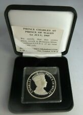 More details for investiture of prince charles 1969 silver proof crown john pinches box/coa