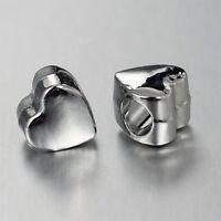 New 1 Silver Plated LOVE heart plain Charm Fits European Brand bracelet