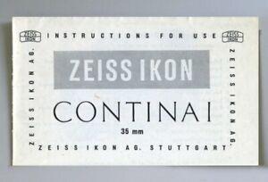 Zeiss Ikon Contina I Instruction Manual Original