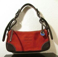 Dooney & Bourke 1975 Small Pepper Color Suede w/ Brown Leather Shoulder Handbag