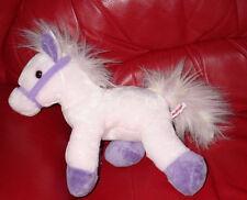 "Aurora Horse Pink Purple Flopsie 14"" Long 10"" Tall Stuffed Animal Plush Soft"