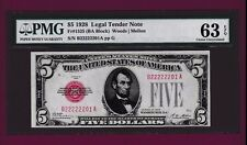 Fr.1525   $5 1928  LEGAL TENDER UNITED STATES NOTE FANCY SN B 22222201 A  PMG