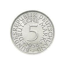 Vorzügliche 5 DM Münzen der BRD (1951-1974) aus Silber