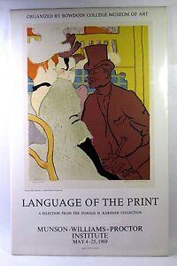 Vintage 1969 Original THE LANGUAGE OF THE PRINT – LAUTREC Exhibition Poster